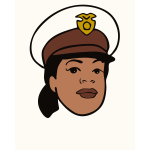Vector drawing of policewoman with hat avatar