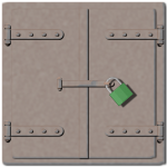 Manhole cover with padlock vector graphics