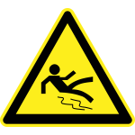 Slippery floor hazard warning sign vector image