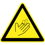 Cut / sever hazard warning sign vector image