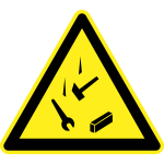 Falling tools hazard warning sign vector image