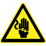 Open line wires hazard warning sign vector image