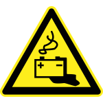 Alkaline liquid hazard warning sign vector image