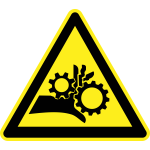 Mechanical crush hazard warning sign vector image