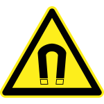 Strong magnetic field hazard warning sign vector image