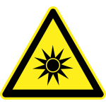 Strong Sun heat hazard warning sign vector image