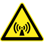 Radio waves hazard warning sign vector image