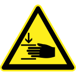Danger from pinching hazard warning sign vector image