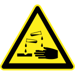 Corrosive hazard warning sign vector image