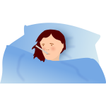 Vector illustration of a feverish woman