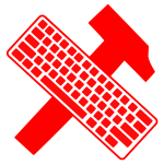 Keyboard over hammer vector image