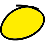 Handwritten yellow circle with black border