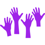 Four purple hands reaching upwards vector graphics