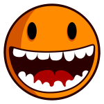 Vector clip art of happy smiley with big teeth