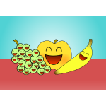 Vector graphics of happy fruits