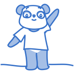 Vector image of happy Panda cartoon character in pastel blue