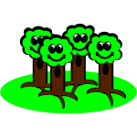 Happy trees smiling vector drawing