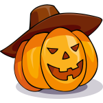 Halloween pumpkin with a sombrero vector drawing