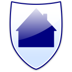 Vector image of blue house on a shield