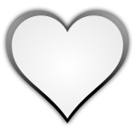 Black and white symmetrical heart shape