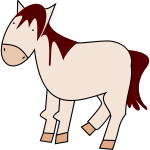Vector image of red cartoon horse