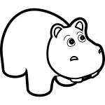 Hippo line art vector drawing