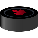 Vector image of hockey puck with Canadian maple leaf