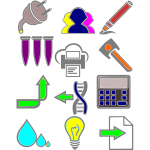 Vector drawing of various signs icons set