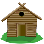 Illustration of wooden house surrounded by grass
