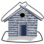 Vector image of small house under snow grayscale