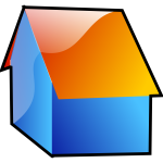 Vector image of blue shiny house with an orange roof