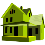 House 3D art green color