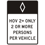 Freeway sign for HOV vehicles vector drawing