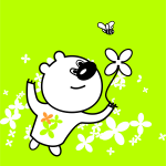 Vector clip art of bear looking at a flower and a bee