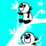 Two panda bears in a tree