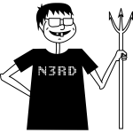 Vector illustration of nerd with a pitchfork