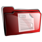 Vector drawing of red plastic folder with document icon