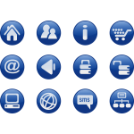 Blue round web design icons vector image