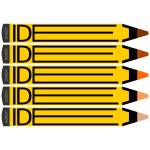 Idea logotype with yellow pencils