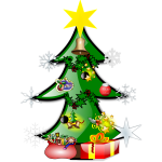Colorful Christmas tree vector graphics