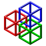 Vector image of tied-up colorful cubes forming an optical illusion
