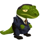 Suited dino