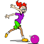 Vector illustration of happy girl chasing a ball