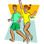 Vector drawing of aerobics class exercise