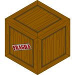 Vector image of of a wooden crate with a fragile load