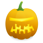 Space ship Halloween pumpkin vector drawing