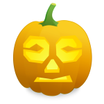 Confused pumpkin vector clip art