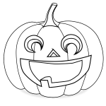 Carved pumpkin coloring vector drawing