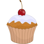 Colorful muffin with cherry on top vector graphics
