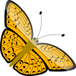 Vector illustration of orange flying butterfly